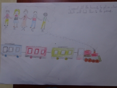 <h5>The train of peace</h5><p>The train of peace  /  Gizam Gakmak  /  Yildiz Primary School  /  Giresun, Turkey </p>